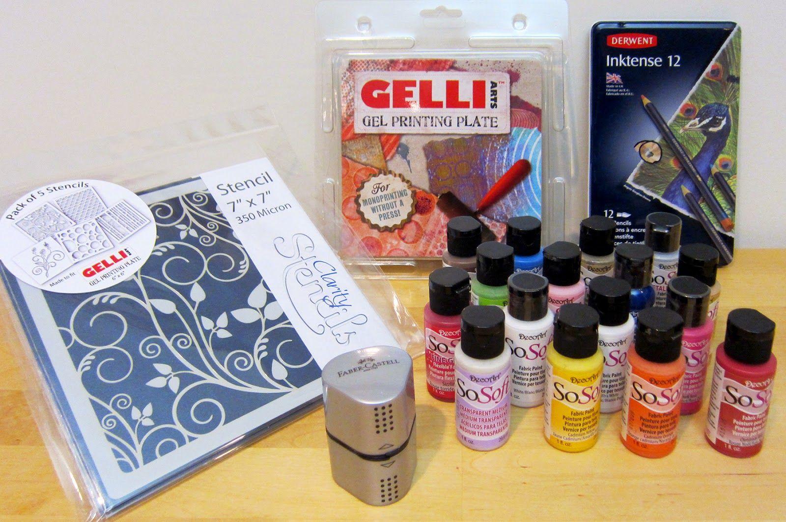 Gelli Arts Printing On Fabric Fun With Stencils Pencils Printing On Fabric Prints Gelli Arts