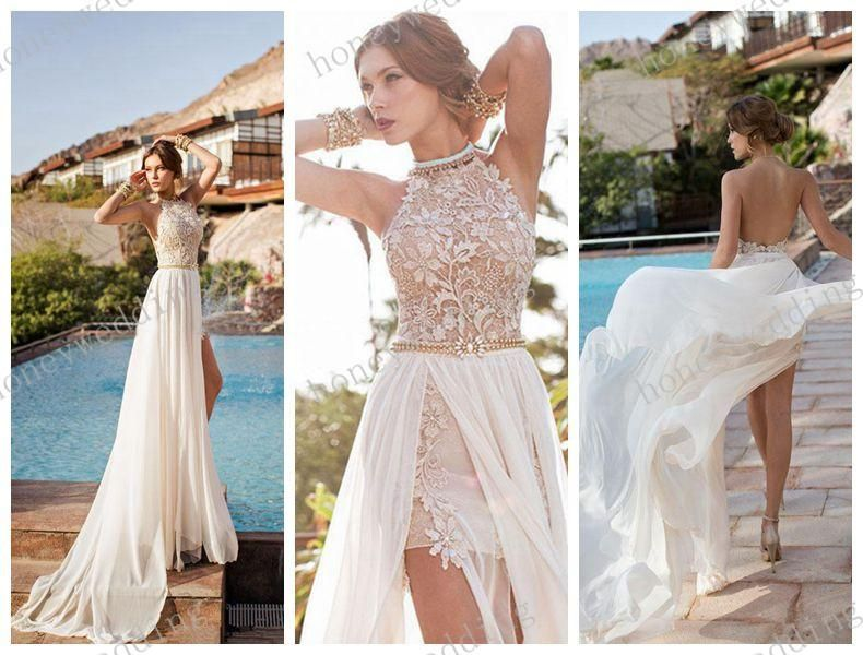 Chiffon split front wedding dress with beaded lacewing