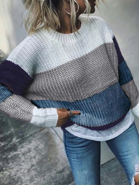 Color Block Knit Loose Comfy Sweater
