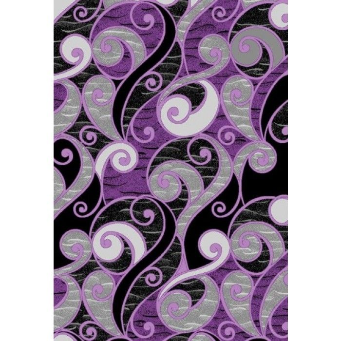 109 00 Whole Area Rugs Rug Depot Modern Swirls 5x8 Contemporary Purple With Black Gray And White Accent