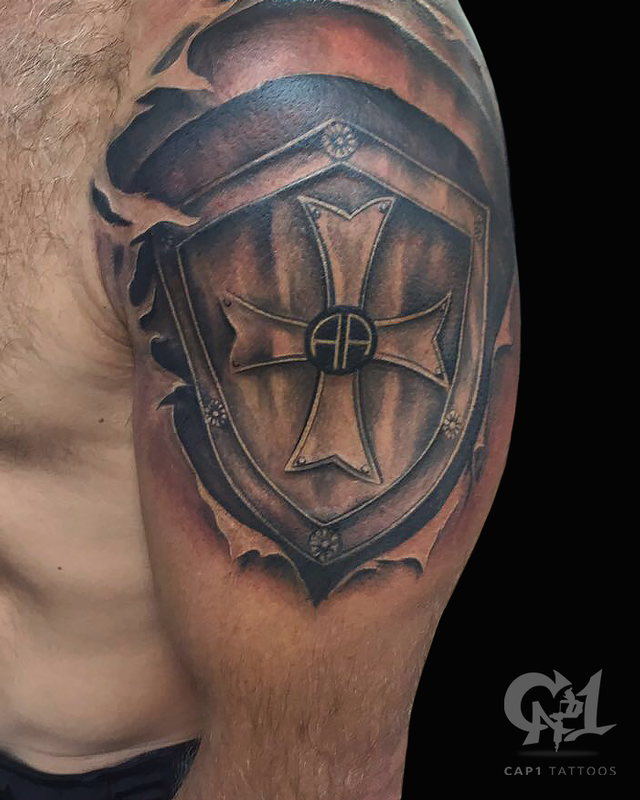 Top 70 Best Shield Tattoo Design Ideas For Men