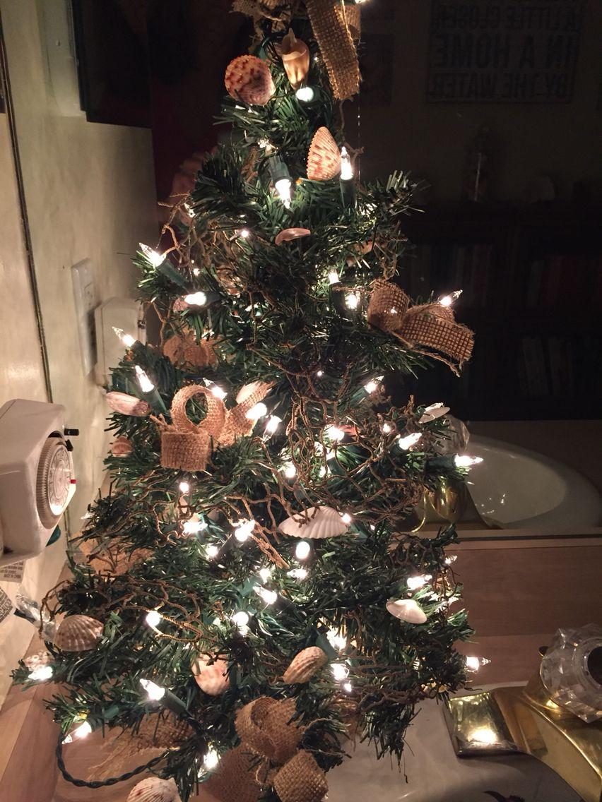 Mini Christmas shell tree with lights.