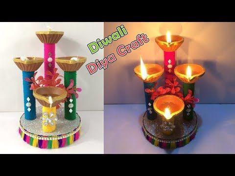 DIY How to make diwali decoration ideas at home easy/Diwali diya making/Easy diya/Art and craft