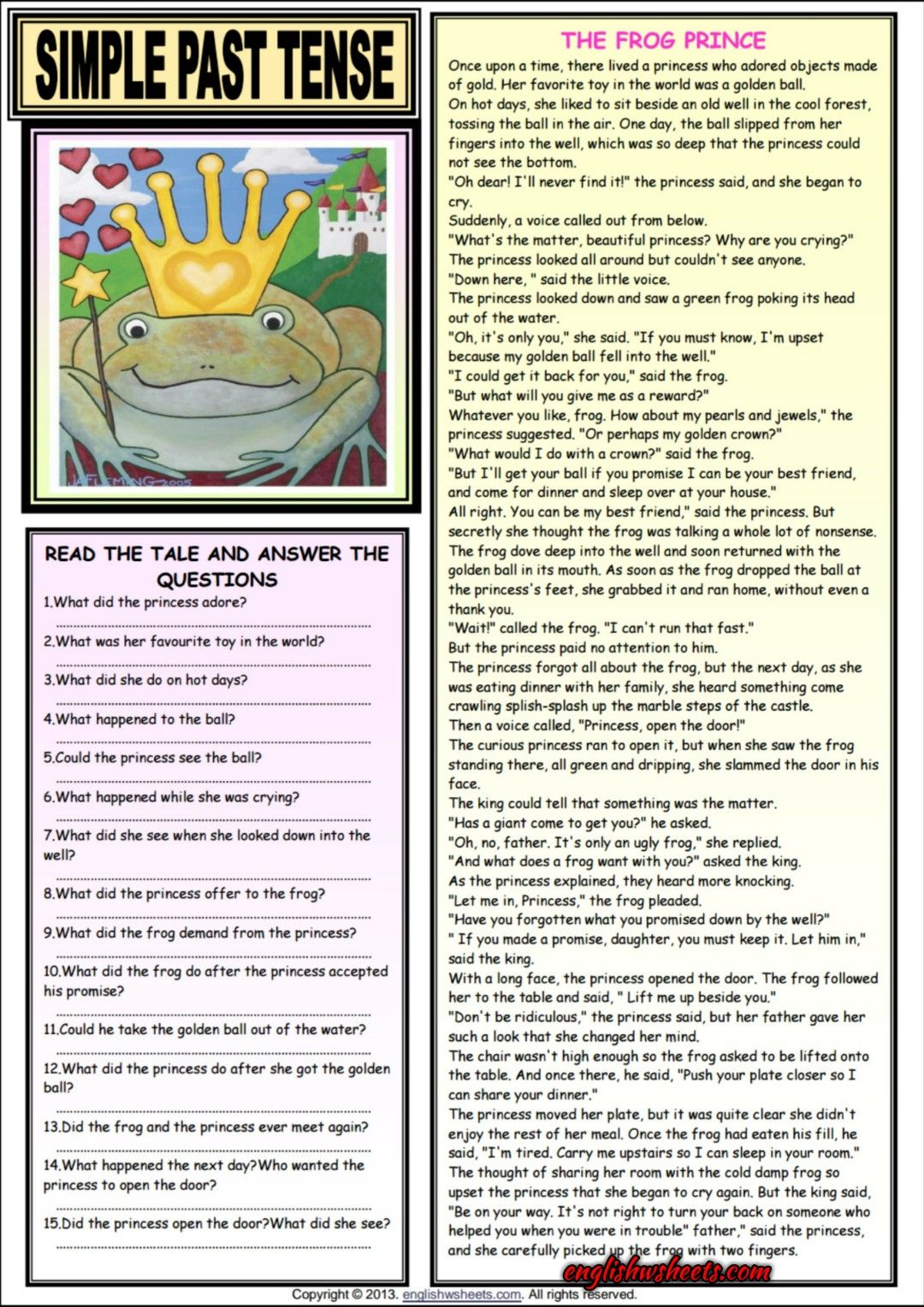 The Frog Prince Comprehension Esl Exercises Worksheet