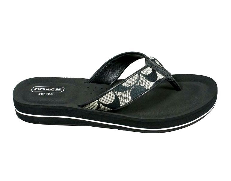 cdc9858e8620 New Coach Signature Jolie Flip Flops Black White Black Size 7M  Coach   FlipFlops