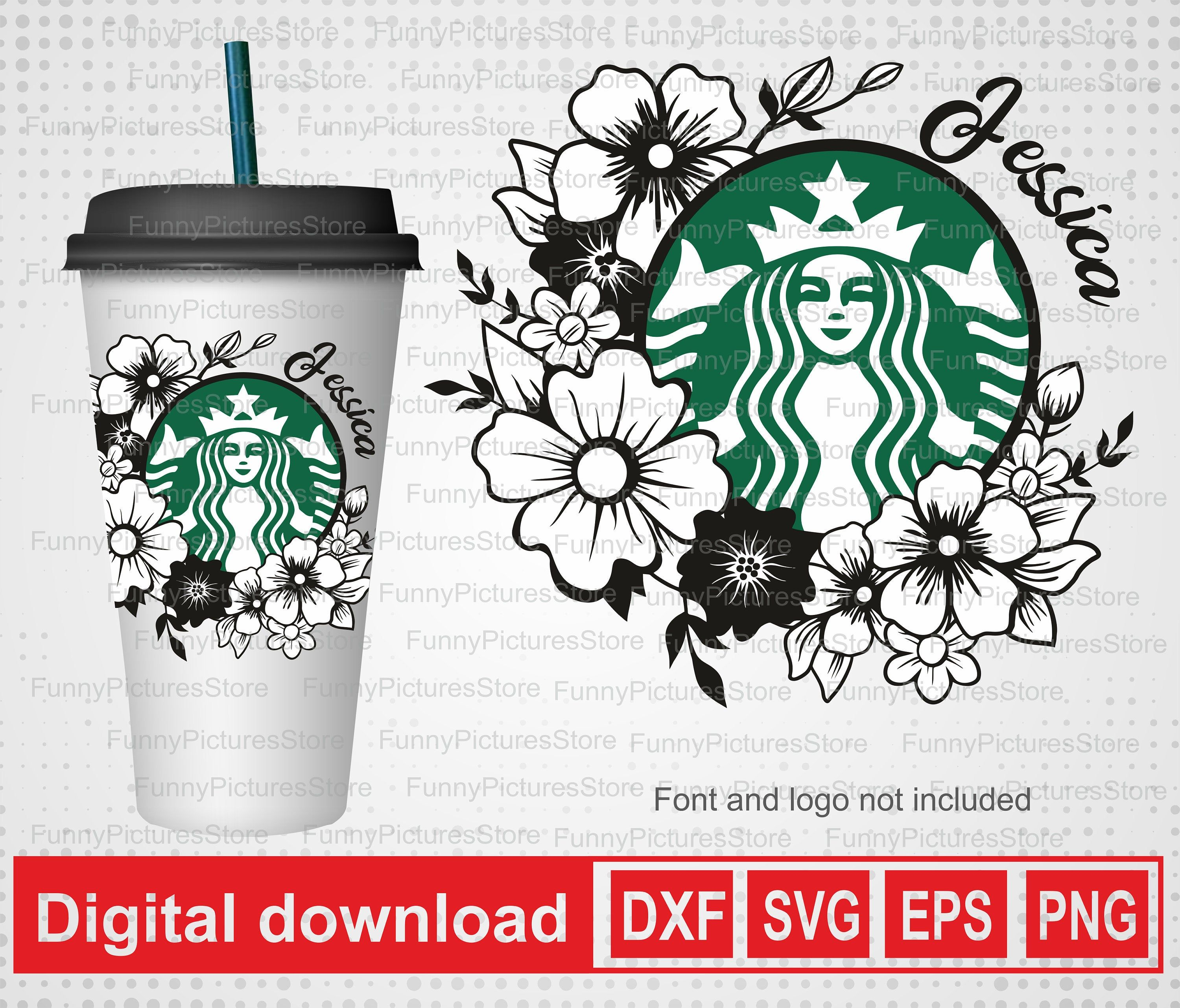 Flower Frame To Personalize Your Starbucks Glass Personalized Etsy In 2020 Sticker Template Cricut Projects Vinyl Flower Frame