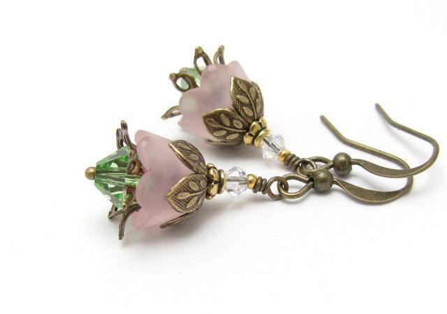 Flower Earrings Rose Pink Lucite Peridot Green Swarovski Crystals Hawaiian Jewelry hawaiibeads. $15.00, via Etsy.
