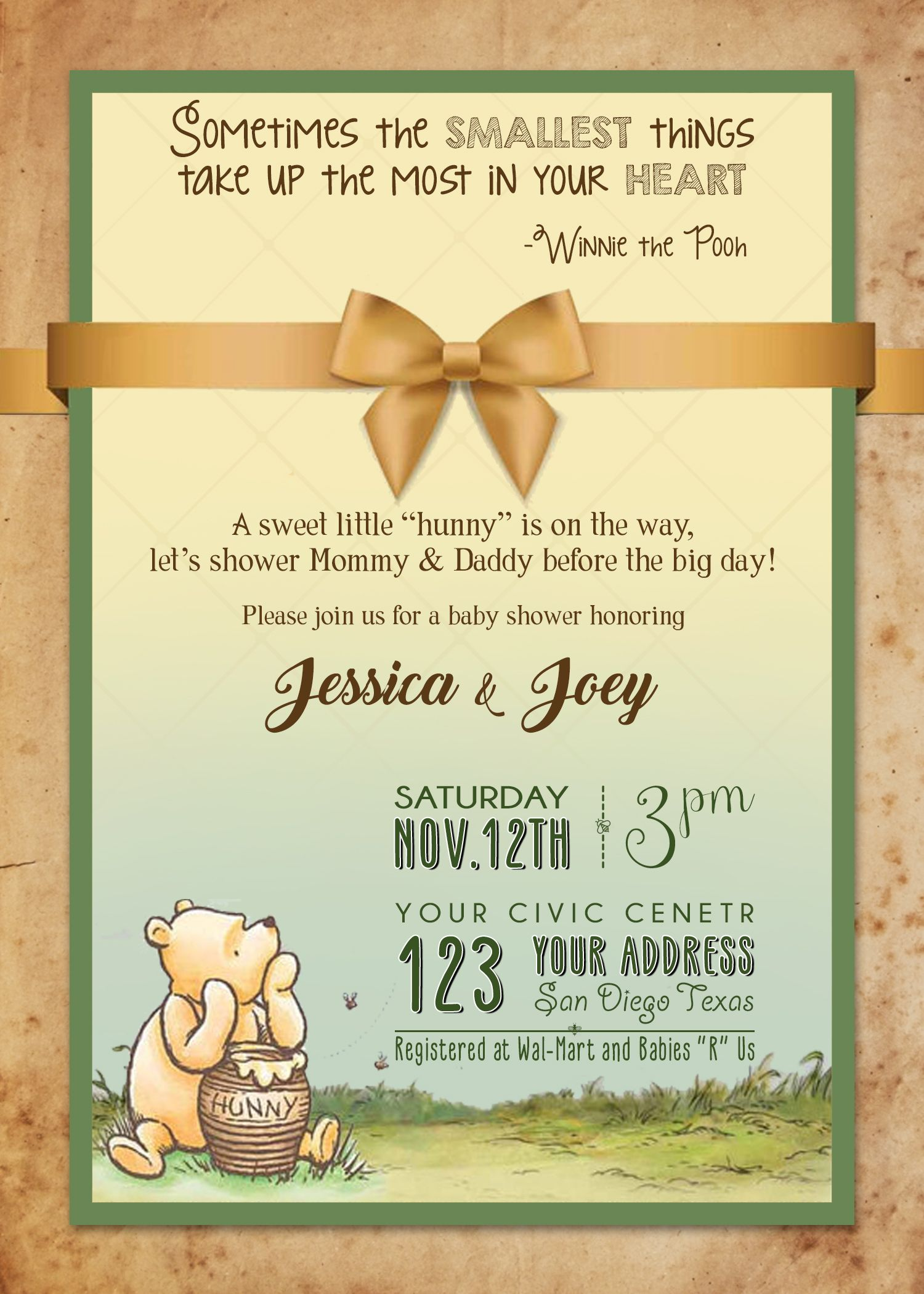Classic Winnie the Pooh Baby Shower Invitation | Oh Baby ...