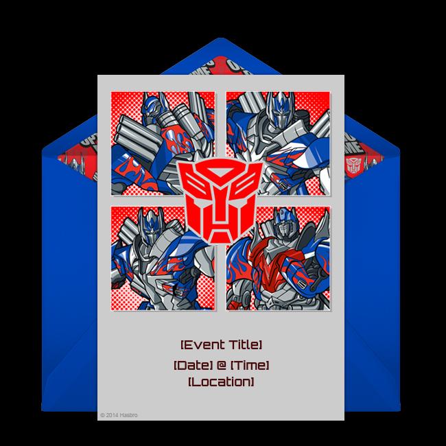 Free Optimus Prime Squares Invitations Transformers Birthday Parties Transformer Birthday Transformer Party