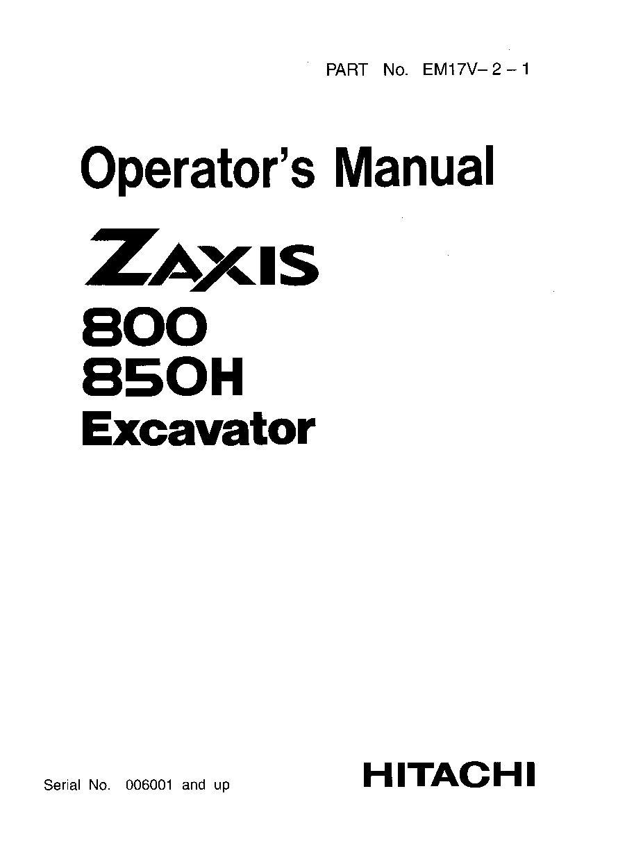 Hitachi Excavator Manuals Download ~ Excavator