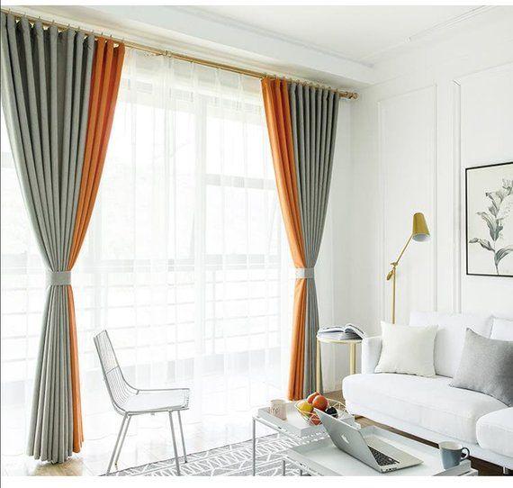 One Piece Gradiant Grey Yellow/Orange/Pink Curtain, Good