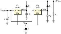 Two LM7812 voltage regulators connected in parallel for a