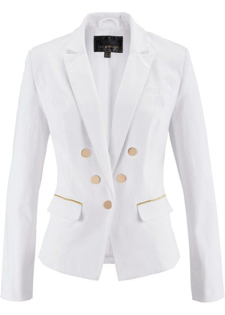 Bonprix Blazer, bpc selection, wit blazer jacket white gold