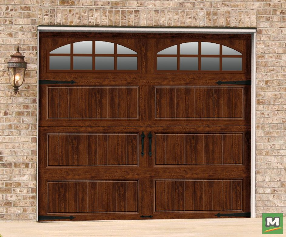 Add Style To Your Home S Exterior With This Designer Series Garage Door From Ideal Door It Features Two Arched Wind Heavy Duty Hinges Arched Windows Exterior
