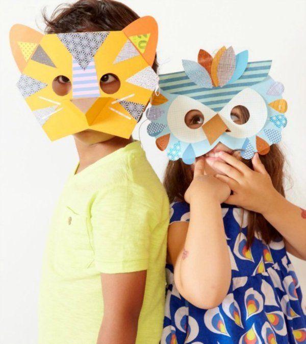 faschingsmasken basteln schane tiermasken mit kindern