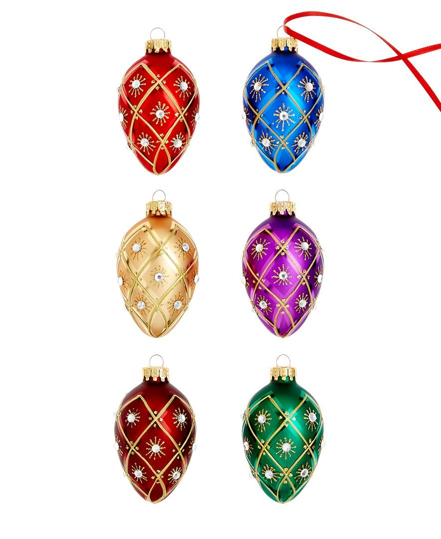 Holiday Lane Set of 6 Faberge Egg Ornaments, Only at Macy's