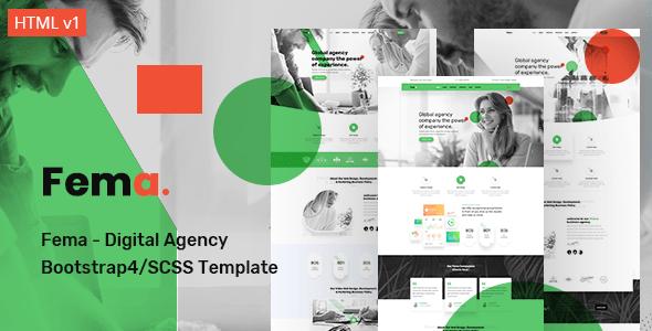 Fema Digital Agency Bootstrap4 Scss Template Stylelib Digital Agencies Business Website Templates Professional Website Templates