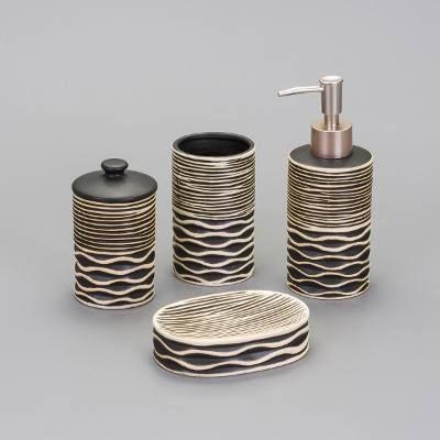Jogo 4 Peças De Cerâmica Stripe P/ Banheiro Lavatório- 25330 - R$ 52,32 em Mercado Livre
