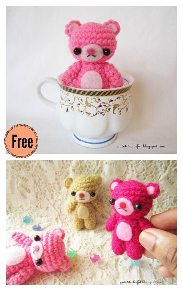 Amigurumi Mini Teddy Bear Free Crochet Pattern | Cuadrados de ...