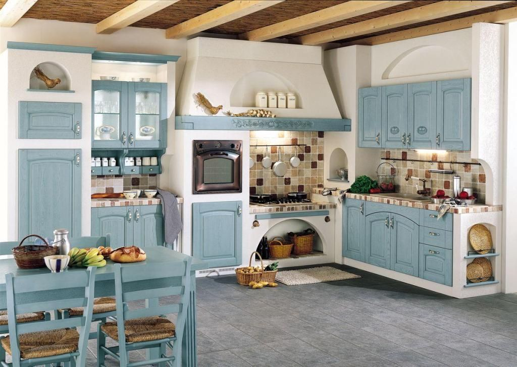fascinating blue kitchen cabinets | Interesting Kitchen French Country Style in 2019 | Blue ...