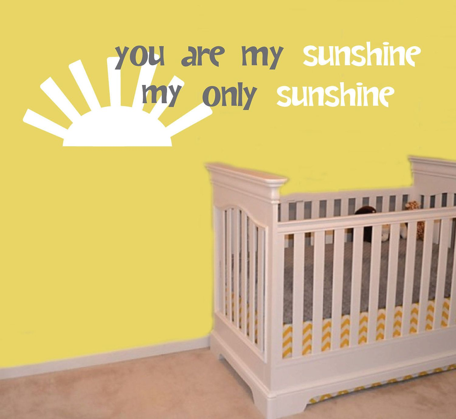 You Are My Sunshine Quote Wall Decal - Sun Wording Vinyl Wall Art ...