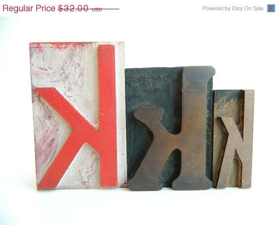 Sale 20 off Vintage Letterpress Printers Blocks by MonkiVintage, $25.60