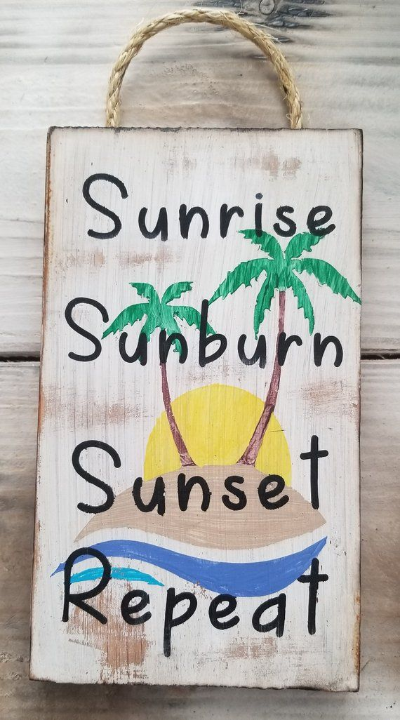 Photo of sunrise sunburn sunset repeat/palm trees/beach/beach decor/beach sign/coastal decor/wood signs/beach house decor/beach cottage/beach home