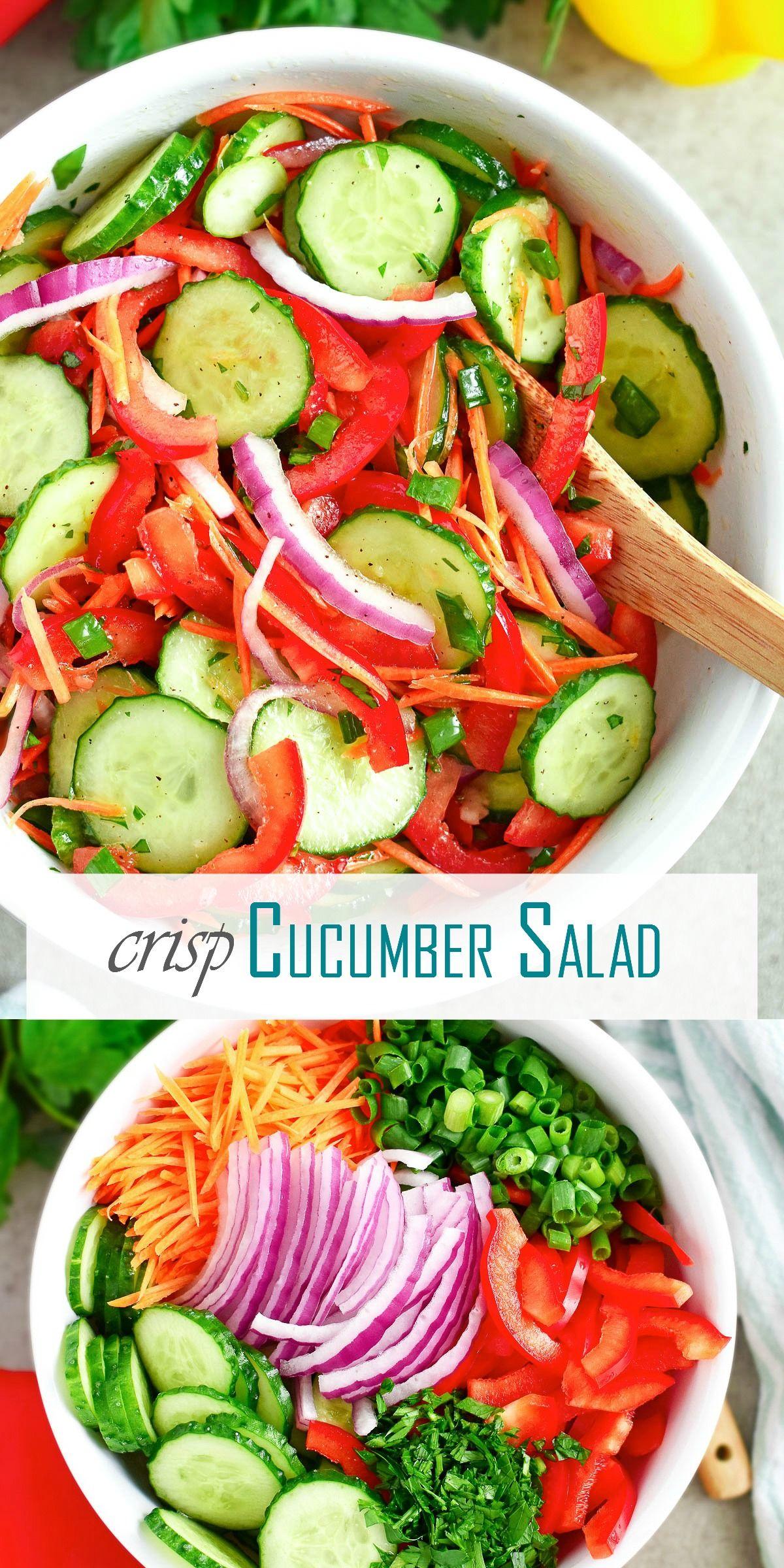Crisp Cucumber Salad Olga In The Kitchen Recipe Healthy Salad Recipes Fresh Veggies Chicken Salad Recipes