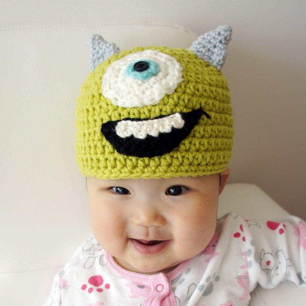 Monster Hat, One Eye, Crochet Monster Hat, Crochet Baby Hat, Animal Hat, Green, photo prop, Inspired by Monsters Inc. $19.99, via Etsy.