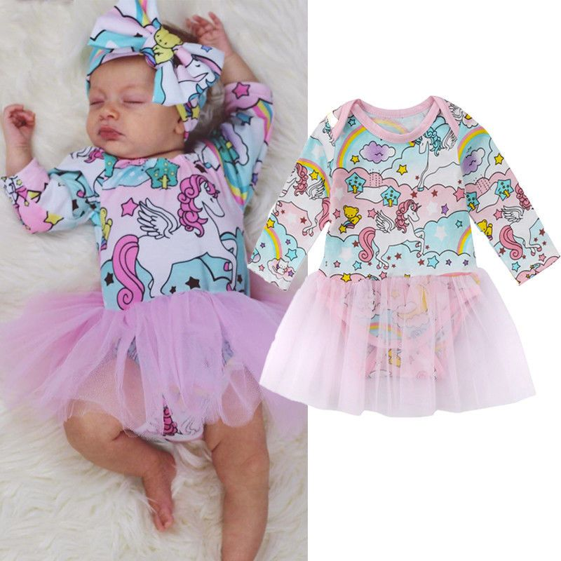 207b0b3bc50d Newborn Baby Girls Unicorn Cartoon Romper Bodysuit Tutu Dress Floral Long  Sleeve