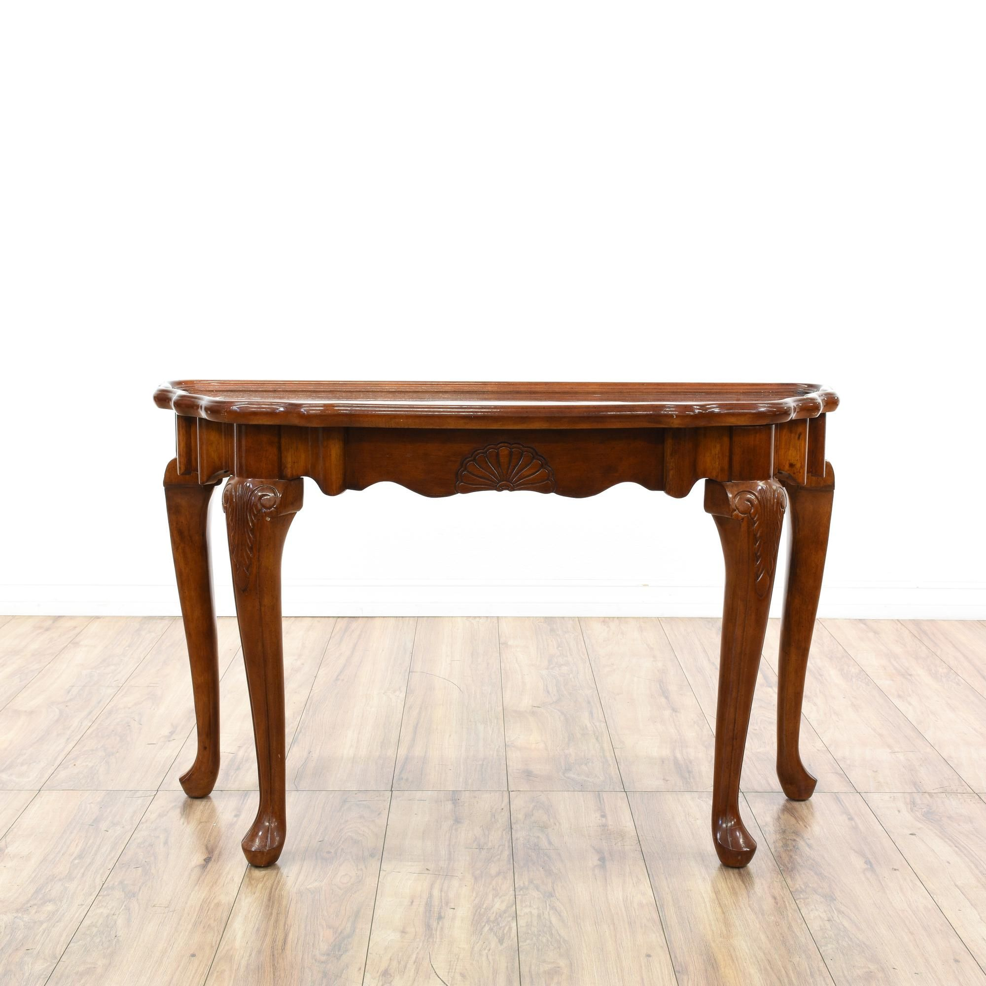 This Queen Anne Style Console Table Is Featured In A Solid Wood With