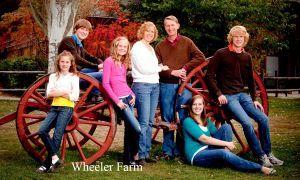Cute family on wagon