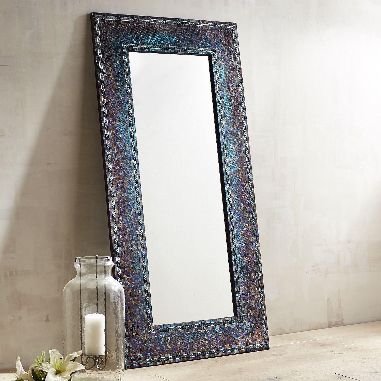 Midnight Splendor Mosaic Floor Mirror