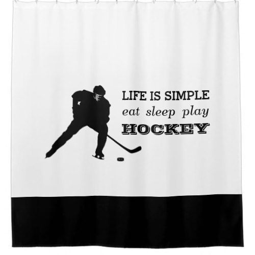 Eat Sleep Play Hockey Black White Hockey Player Shower Curtain Zazzle Com Eat Sleep Black White Hockey