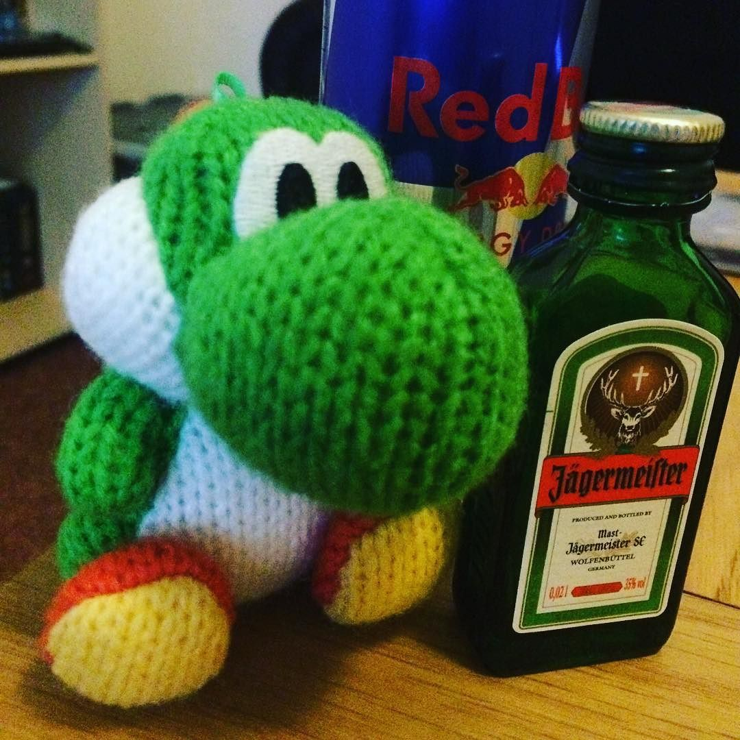 On instagram by kingmonkey25  #retrogaming #microhobbit (o)  http://ift.tt/1RcgMXG  Yoshi getting in on some Jägerbombs action! Happy New Year folks!  #yoshi #nintendo  #amiibo #nye2015