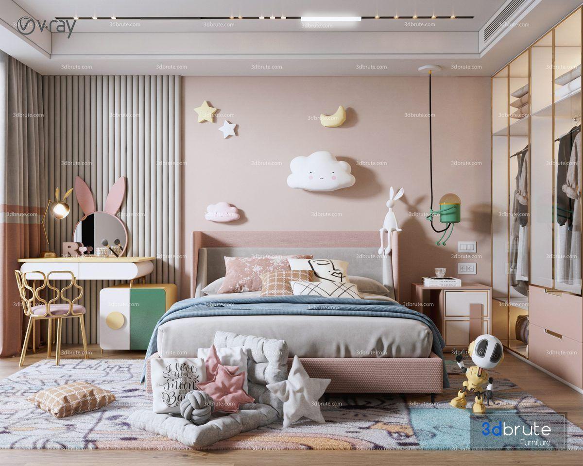 Bedroom Vol4 2021 Download 3d Models Buy 3dbrute In 2021 Room Design Bedroom Girls Bedroom Wallpaper Luxury Kids Bedroom Kids room design 2021