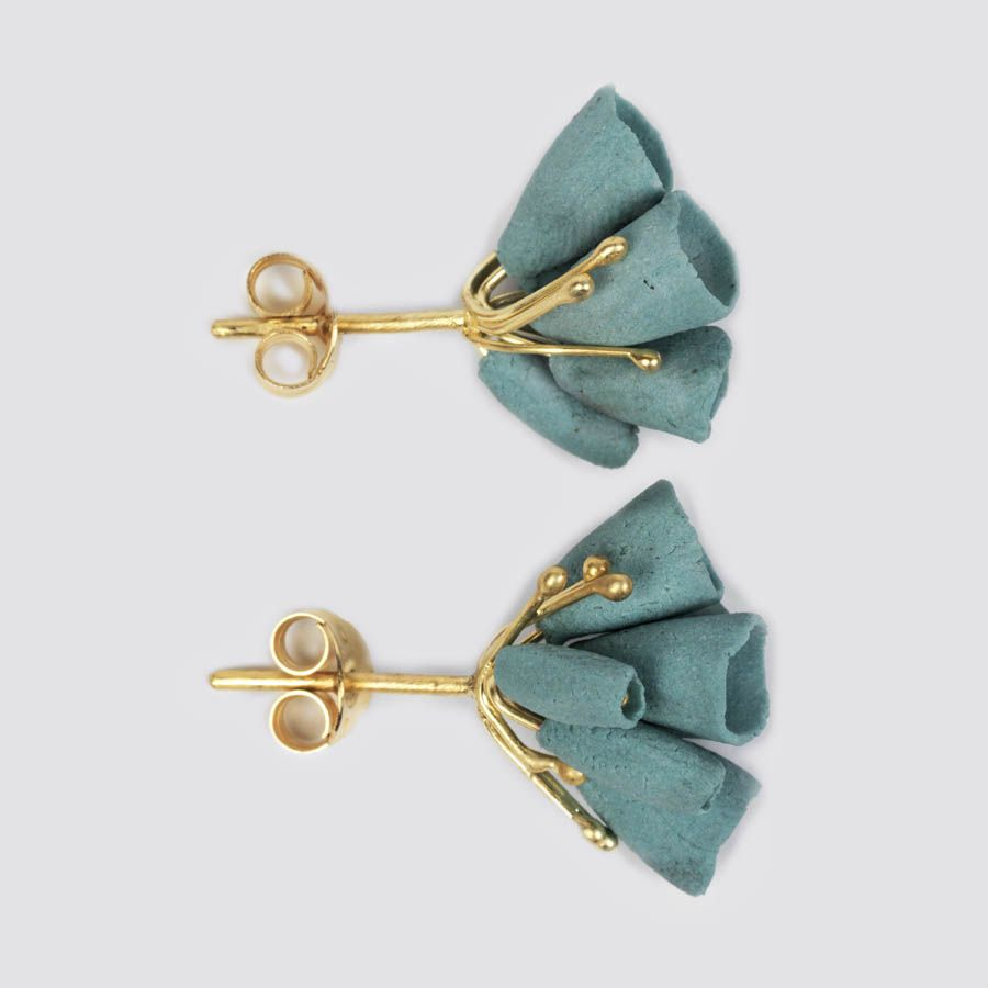 Ruth Tomlinson Gold, silver and turquoise porcelain studs