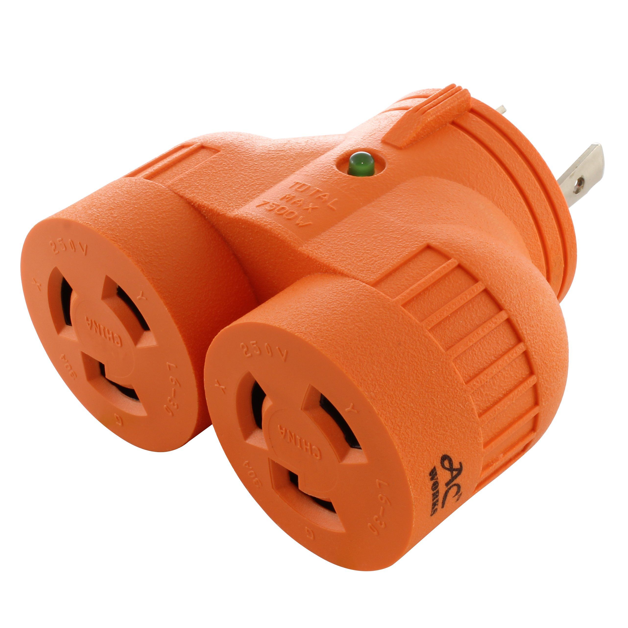 Ac Works V Duo Advl630l630 Adapter L6 30p 30a 250v 3 Prong Locking Plug To 2 Connectors Outlet Adapter Plugs Adapter