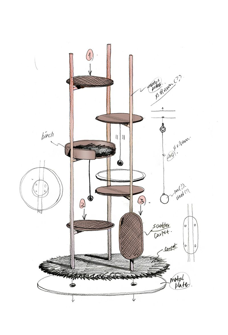 Three Poles Cat Tower Milliong 2019 Designed By Jiyoun Kim