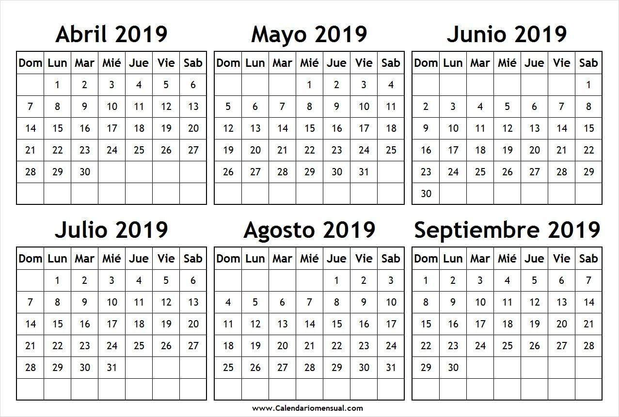Calendario 2019 Julio Agosto Y Septiembre.Calendario Abril Mayo Junio Julio Agosto Y Septiembre 2019