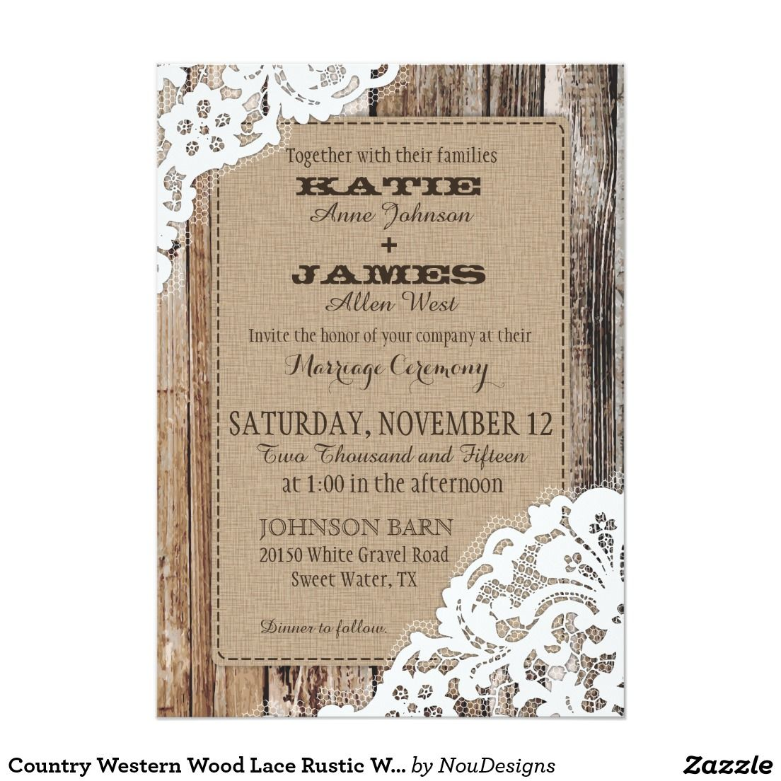 Country Western Wood Lace Rustic Wedding | Country Wedding ...