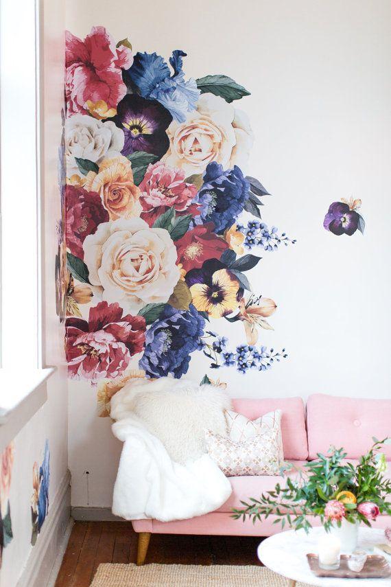 Vinyl Wall Sticker Decals Vintage Floral Floral Wall Sticker Floral Wall Decals Floral Wall Decor