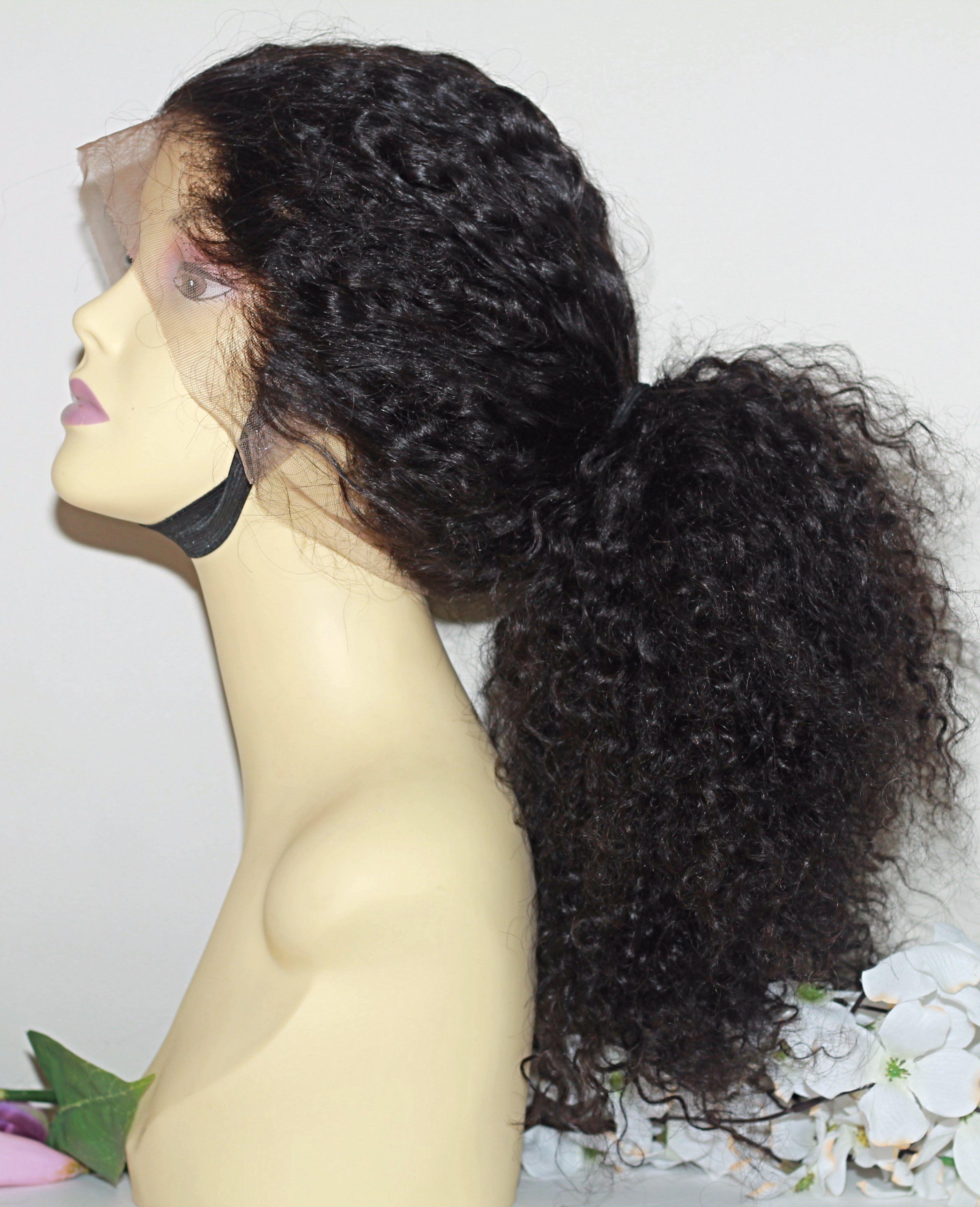 Illusion lace frontal brazilian curly glueless lace wig lace