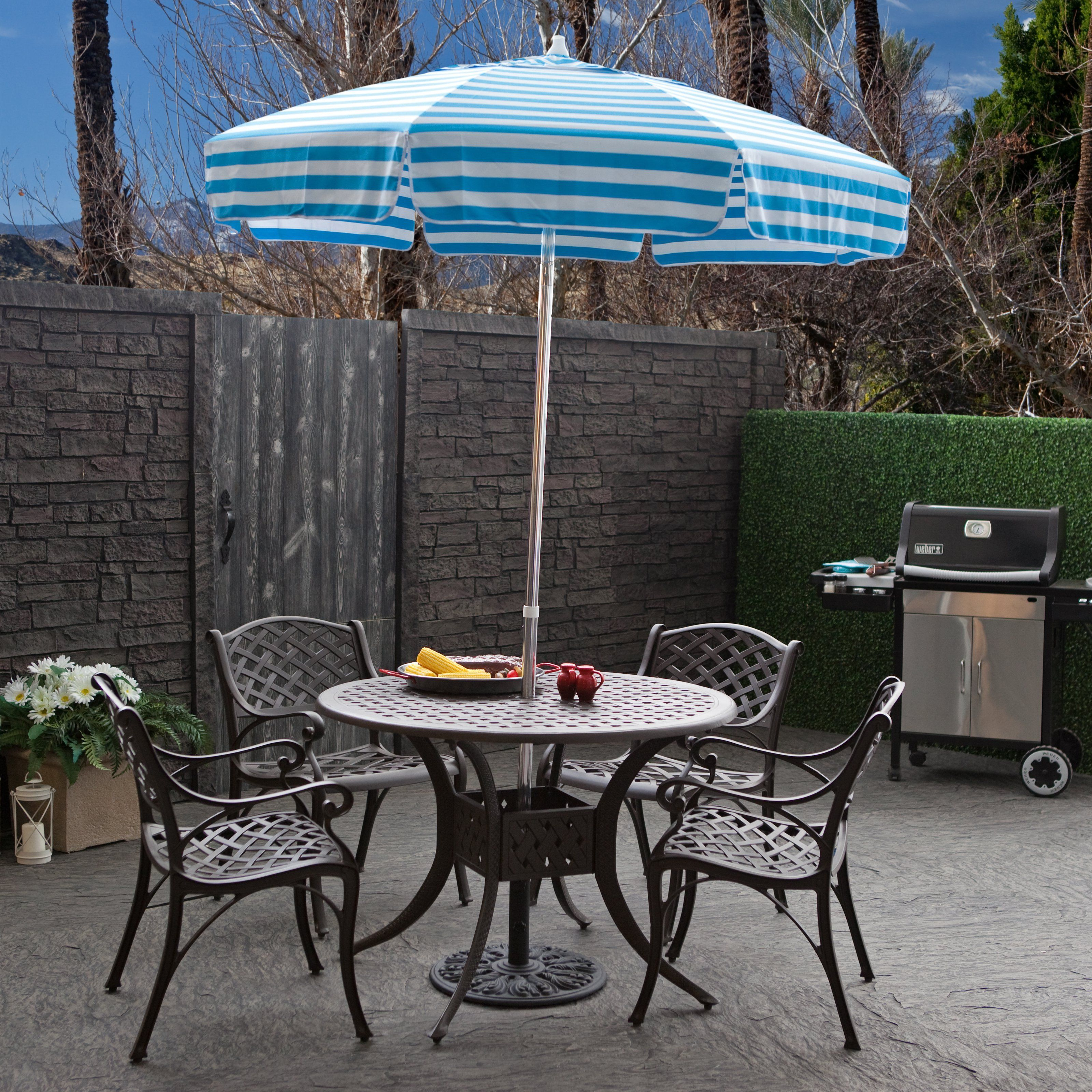 Destinationgear 6 Ft Aluminum Cabana Stripe Bistro Umbrella Patio Table Umbrella Patio Umbrellas Small Patio Furniture