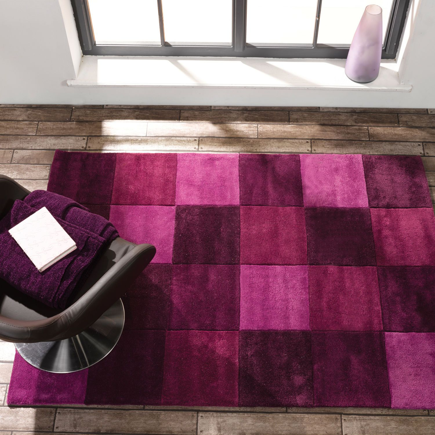 Flair Infinite Inspire Squared Rug In Aubergine Next Day Delivery
