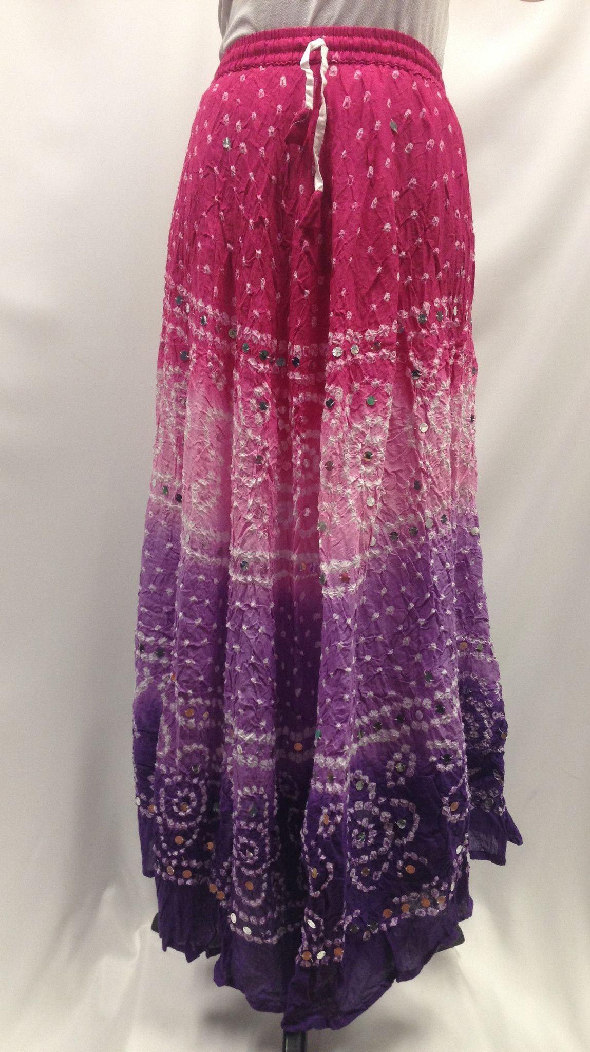 8122ba17a Bandhani Tie-Dye Skirt from Jaipur with Large Sequins Pink-Purple ...