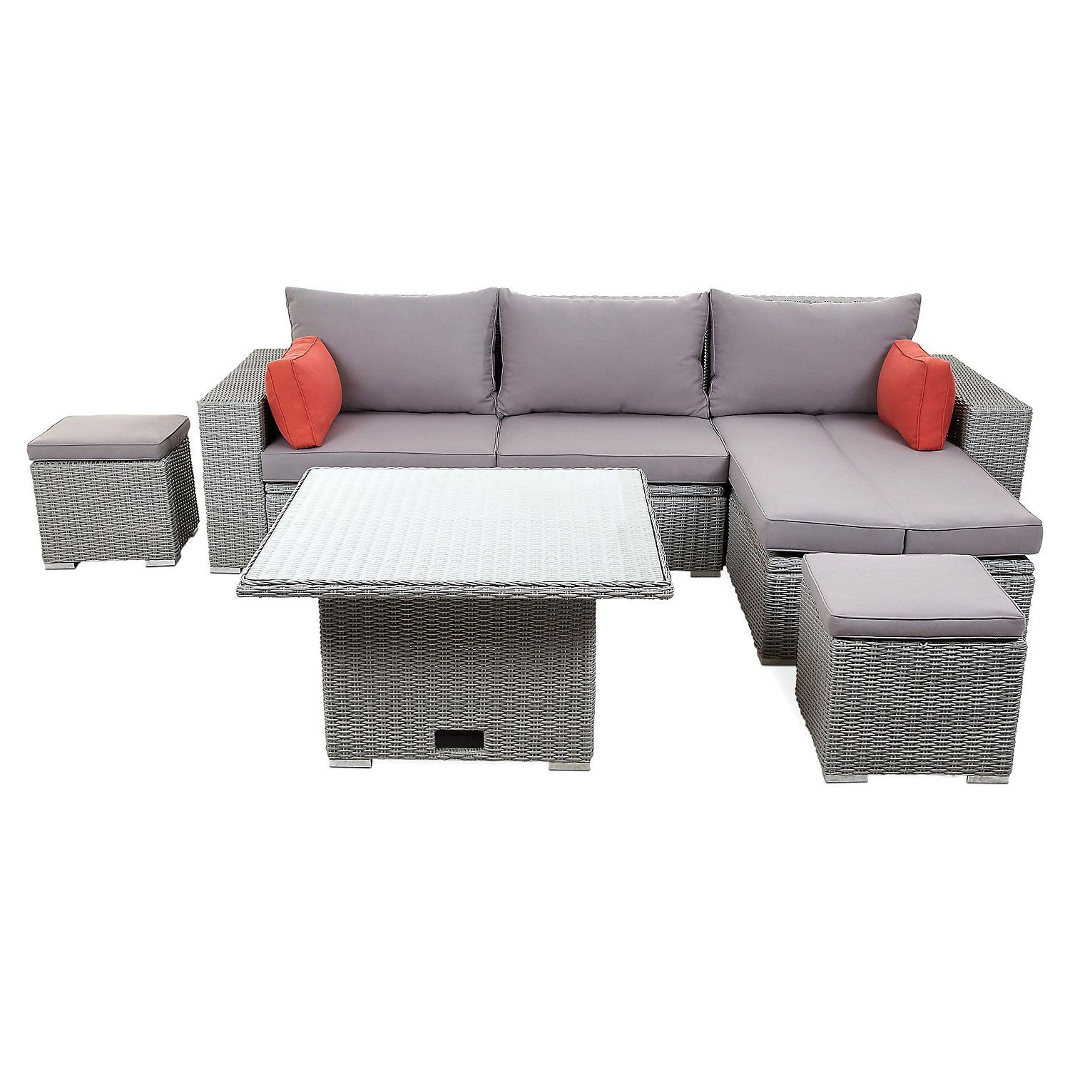 Weather resistant Grey VonHaus Rattan Sofa and Table Set Rope Style Rattan Wicker Garden Set with Glass-top table