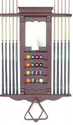 10 Billiard Cue Stick Pool Ball Wall Rack Made Of Wood Mahogany Finish By Iszy Billiards 109 95 Made Of Wood Holds 10 C Wall Racks Pool Cue Rack Billiards