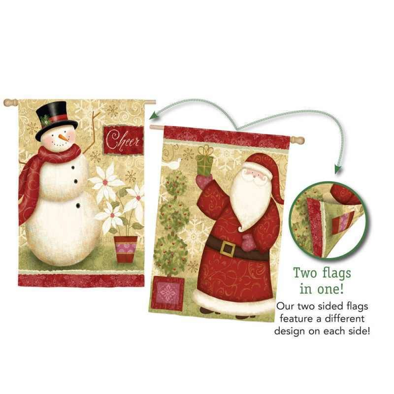 elegant santa and snowman 2 sided suede reflections house flag - Santa Snowman 2
