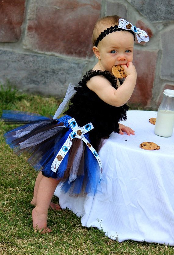 Cookie Monster tutu with hair bow